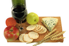 Blue Cheese, Wine and Snacks. Royalty Free Stock Photo