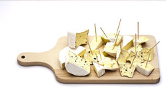 Blue cheese on wooden board Stock Photos