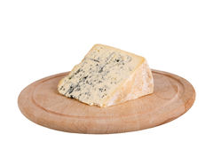 Blue cheese. On wooden board isolated Royalty Free Stock Photo