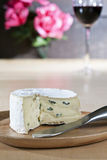Blue cheese on wooden plate stock photography