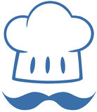 Blue Chef Hat With A Mustache Logo Royalty Free Stock Photography
