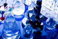 Blue chemistry vials Royalty Free Stock Photography