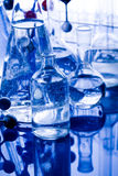 Blue chemistry vials Stock Images