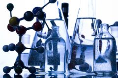 Blue chemistry vials Stock Photography