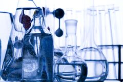 Blue chemistry vials Royalty Free Stock Photo