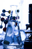 Blue chemistry vials Royalty Free Stock Images