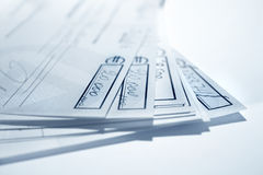 Blue cheques Stock Photo