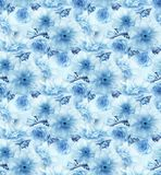 Blue cherry sakura flower floral blue digital art seamless pattern texture background Royalty Free Stock Image