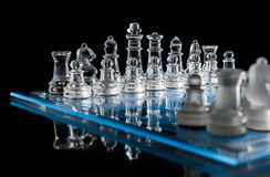 Blue Chessboard In The Dark With Reflection #2 Royalty Free Stock Photography