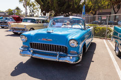 Blue 1955 Chevrolet Bel Air. Laguna Beach, CA, USA - October 2, 2016: Blue 1955 Chevrolet Bel Air convertible owned by Gary Paolucci and displayed at the Rotary Royalty Free Stock Images