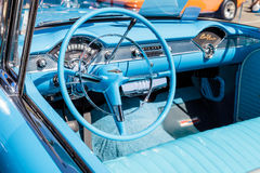 Blue 1955 Chevrolet Bel Air. Laguna Beach, CA, USA - October 2, 2016: Blue 1955 Chevrolet Bel Air convertible owned by Gary Paolucci and displayed at the Rotary Royalty Free Stock Photos
