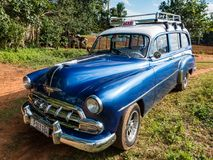 Blue Chevy station-wagon. Vinalis, Cuba, Nov 23, 2017 - Classic American blue 1950`s Chevrolet station wagon royalty free stock photos
