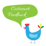 Blue chicken grunge tell with green grunge speech bubble word customer feedback vector Stock Photos