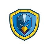 Blue Chicken Mohawk Shield Icon Stock Photos