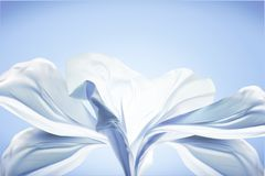 Blue chiffon design. Flying fabric in 3d illustration on blue background Royalty Free Stock Image