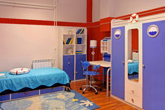 Blue child bedroom Royalty Free Stock Image