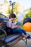 Blue, Child, Fun, Sitting Stock Image