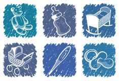 Blue children icons Royalty Free Stock Images
