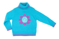 Blue children's knitted sweater Stock Images