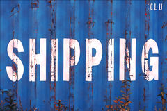 Blue China delivery container textured background Royalty Free Stock Photography