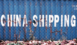 Blue China delivery container textured background Stock Images