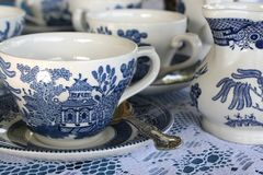 Blue China Tea Set Royalty Free Stock Image