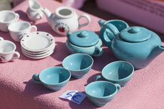 Blue china tea set on sale Stock Photos