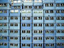 Blue Chinese beer crates stock photos