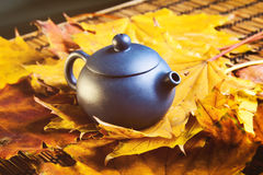 Blue Chinese teapot royalty free stock images