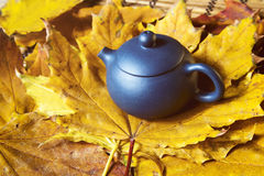 Blue Chinese teapot royalty free stock photography