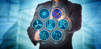 Blue Chip Manager Monitoring Energy Efficiency. Via a virtual control interface. Industry concept for efficient energy use, sustainability reporting, audit and royalty free stock photo