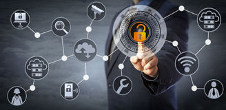 Blue Chip Manager Unlocking Access Control. Blue chip manager is unlocking a virtual locking mechanism to access shared cloud resources. Internet concept for stock photos