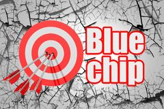 Blue chip word with red arrow and board. 3D rendering vector illustration