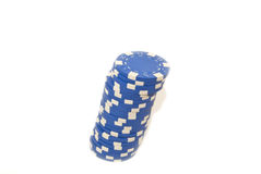 Blue chips. Blue clips for poker games and other card games Stock Photo