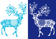 Blue chirstmas deer , vector set Royalty Free Stock Image