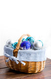 Blue chistmas balls in basket on white Royalty Free Stock Image