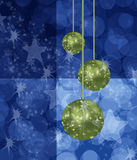 Blue Chistmas with Green Balls Background Royalty Free Stock Image