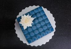 Blue chocolate velour cake with flower. A blue chocolate velour cake with flower Stock Photo