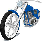 Blue Chopper. A detailed Vector .eps illustration of a chopper saved in separate layers for easy editing if needed Stock Photos