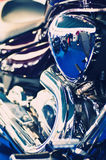 Blue chopper motorcycle engine Stock Photo