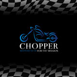 Blue chopper motorcycle logo symbol and Checkered flags background Stock Photos