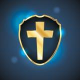 Blue Christian Cross Shield Illustration Stock Photo