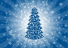 Blue christmas. Blue gradient christmas background with tree Stock Photo