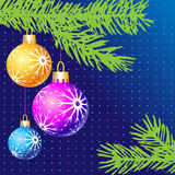 Blue christmas. Christmas balls with fir on a blue background and space for your text, logo or design, download full scalable  graphic included Eps v8 and a high Royalty Free Stock Images
