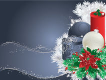 Blue christmas. Background with bauble, gifts and poinsettia stock illustration