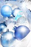 Blue christmas. Ornaments and icicle garland Stock Image