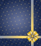 Blue christmas background. With ribbon and snowflake Stock Photos