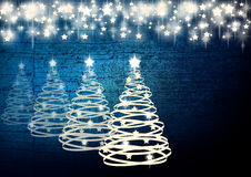 Blue Christmas background. With stars and trees - illustration Stock Image