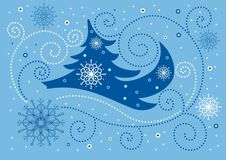 Blue christmas background. It is very bright and colourful background which can be used for  christmas cards Stock Photography