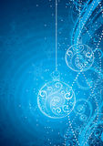 Blue Christmas Background. A blue illustrated Christmas background with a floral design of a hanging ball, snowflakes and wisps stock illustration